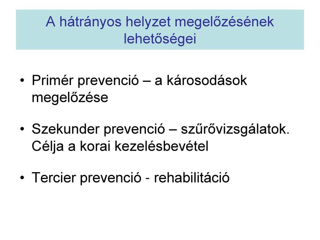 a hipertónia tercier prevenciója